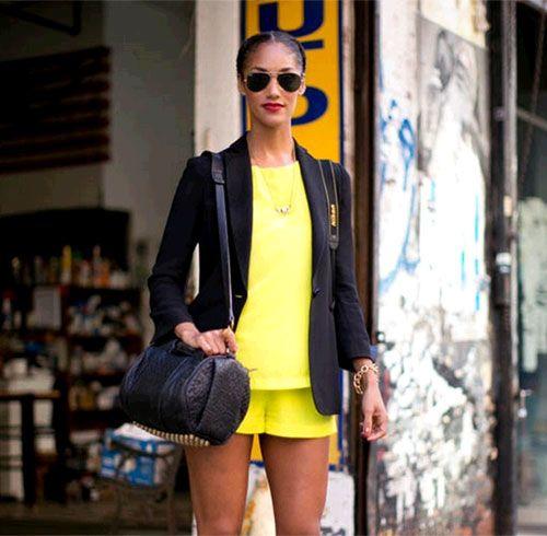 活力明黄为春日街拍增色添彩
